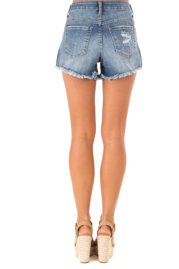 Faded Navy Distressed Button Up Denim Shorts with Pockets back view