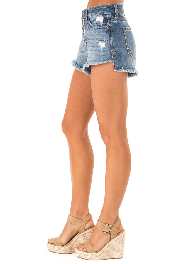 Faded Navy Distressed Button Up Denim Shorts with Pockets side view