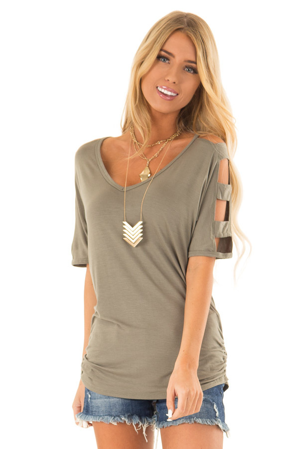 Olive Green 3/4 Ladder Cut Out Sleeves Top with Ruched Sides front close up