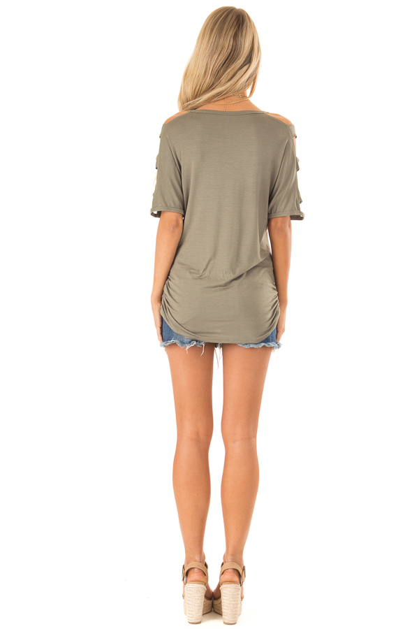 Olive Green 3/4 Ladder Cut Out Sleeves Top with Ruched Sides back full body