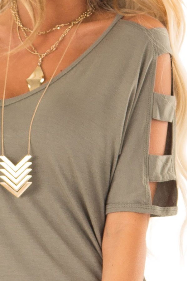 Olive Green 3/4 Ladder Cut Out Sleeves Top with Ruched Sides detail