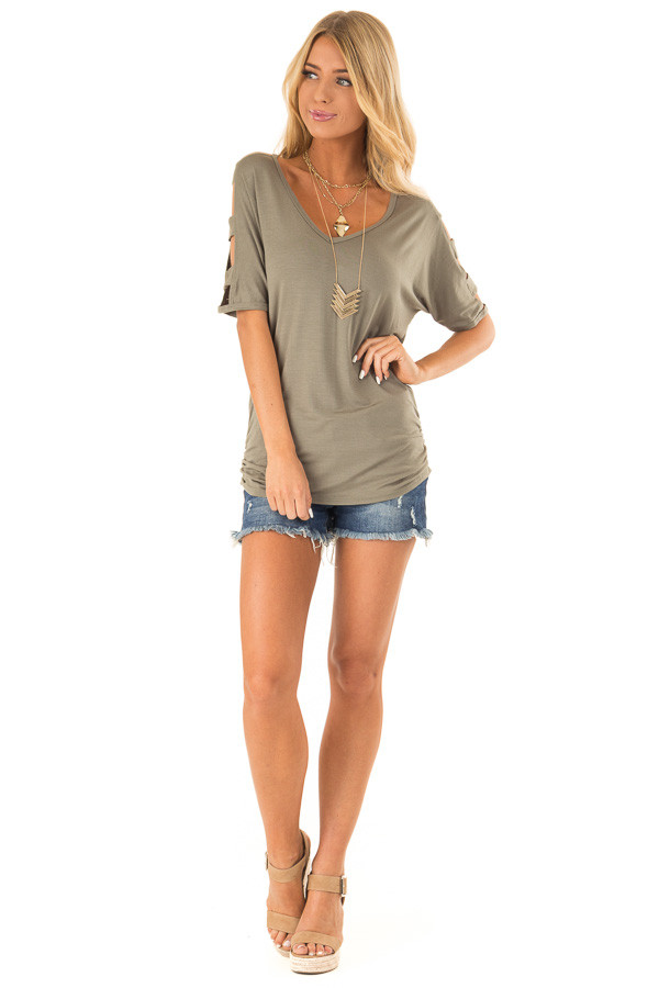 Olive Green 3/4 Ladder Cut Out Sleeves Top with Ruched Sides front full body