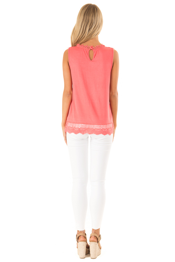 Bright Coral Sleeveless Top with Crochet Overlay and Hemline back full body