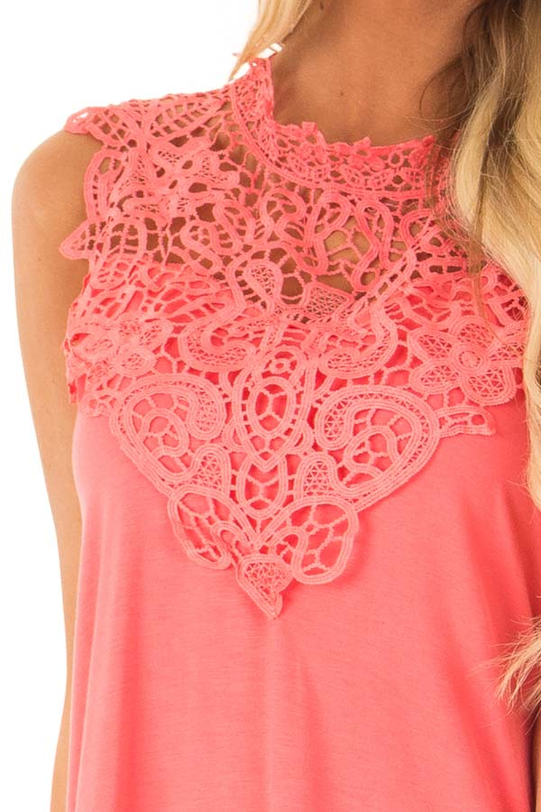 Bright Coral Sleeveless Top with Crochet Overlay and Hemline detail