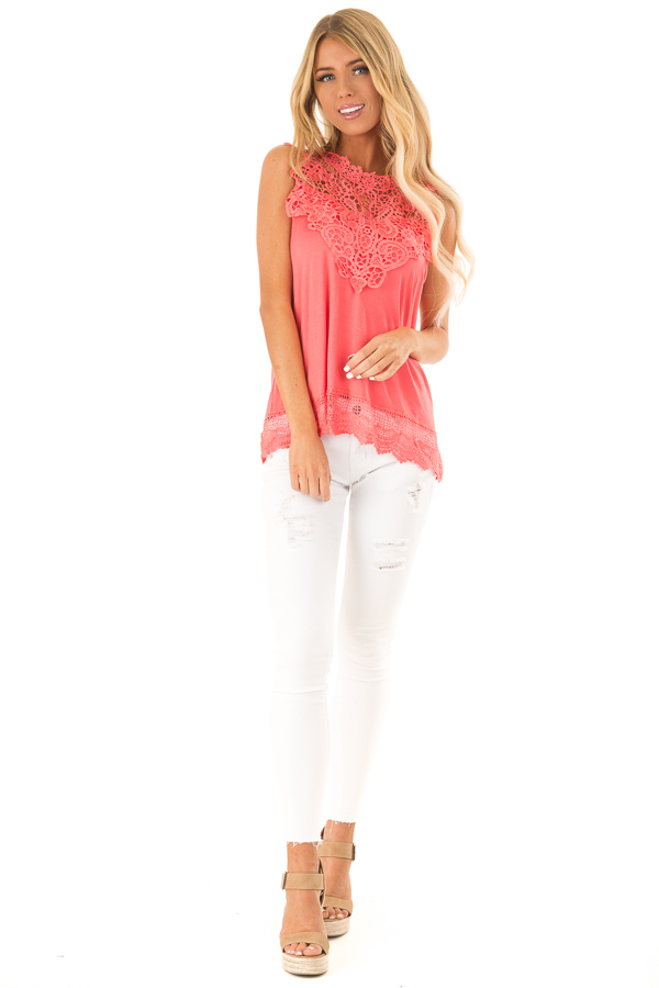Bright Coral Sleeveless Top with Crochet Overlay and Hemline front full body