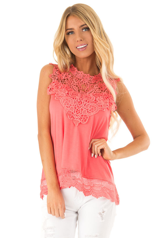 Bright Coral Sleeveless Top with Crochet Overlay and Hemline front close up