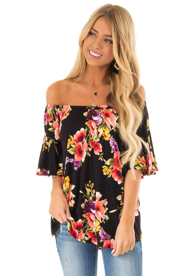 Black Floral Print Off the Shoulder Top with Short Sleeves front close up