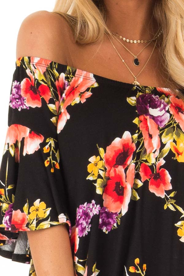 Black Floral Print Off the Shoulder Top with Short Sleeves detail