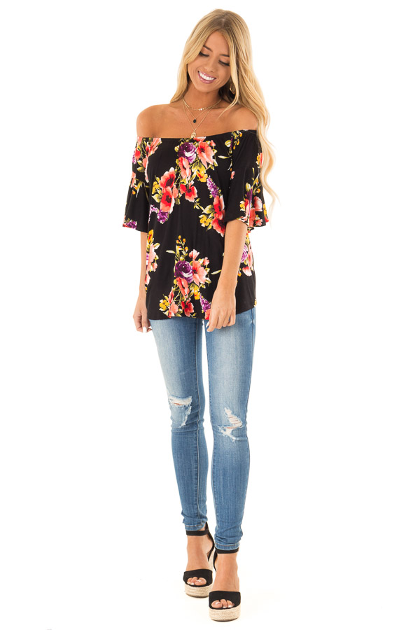 Black Floral Print Off the Shoulder Top with Short Sleeves front full body