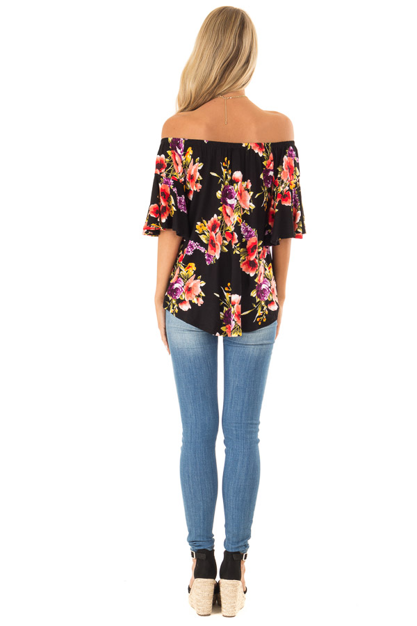 Black Floral Print Off the Shoulder Top with Short Sleeves back full body