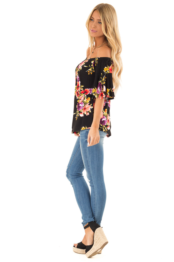Black Floral Print Off the Shoulder Top with Short Sleeves side full body