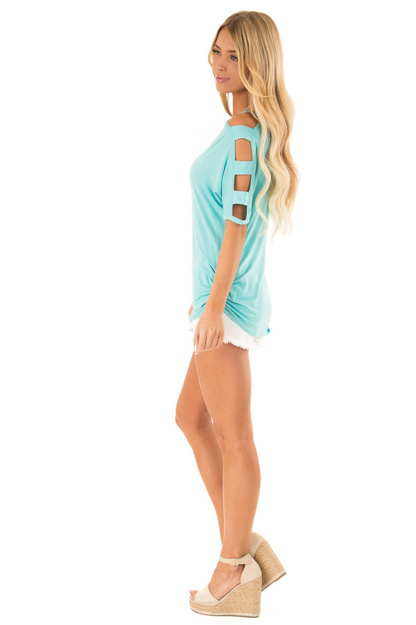 Aqua Blue 3/4 Ladder Cut Out Sleeves Top with Ruched Sides side full body