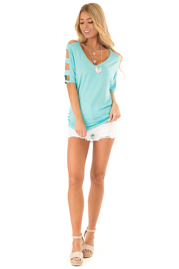 Aqua Blue 3/4 Ladder Cut Out Sleeves Top with Ruched Sides front full body