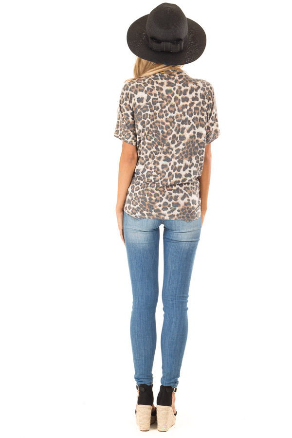 Mocha Leopard Print Short Sleeve Open Cardigan with Tie back full body