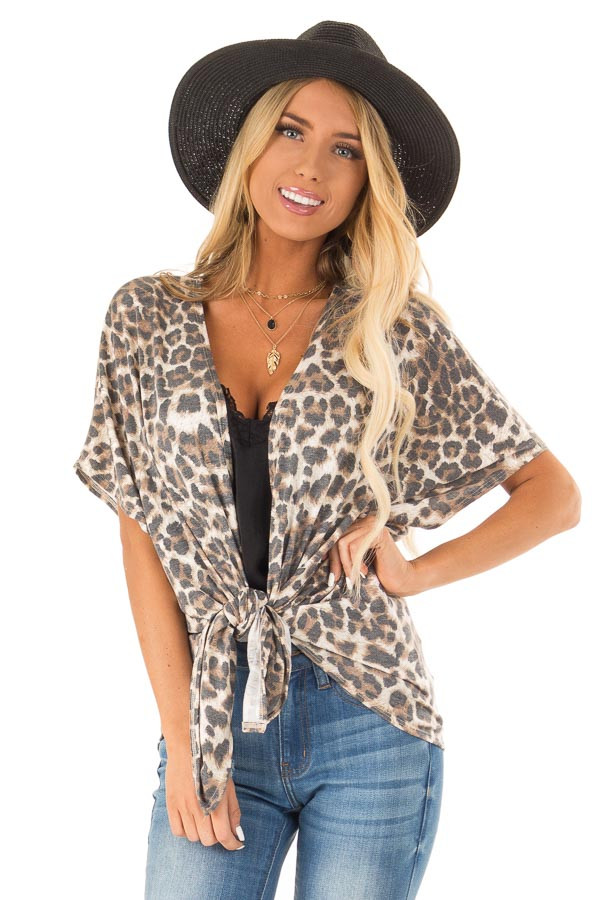 Mocha Leopard Print Short Sleeve Open Cardigan with Tie front close up