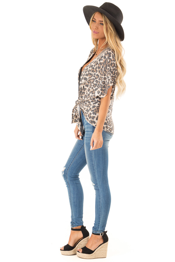 Mocha Leopard Print Short Sleeve Open Cardigan with Tie side full body