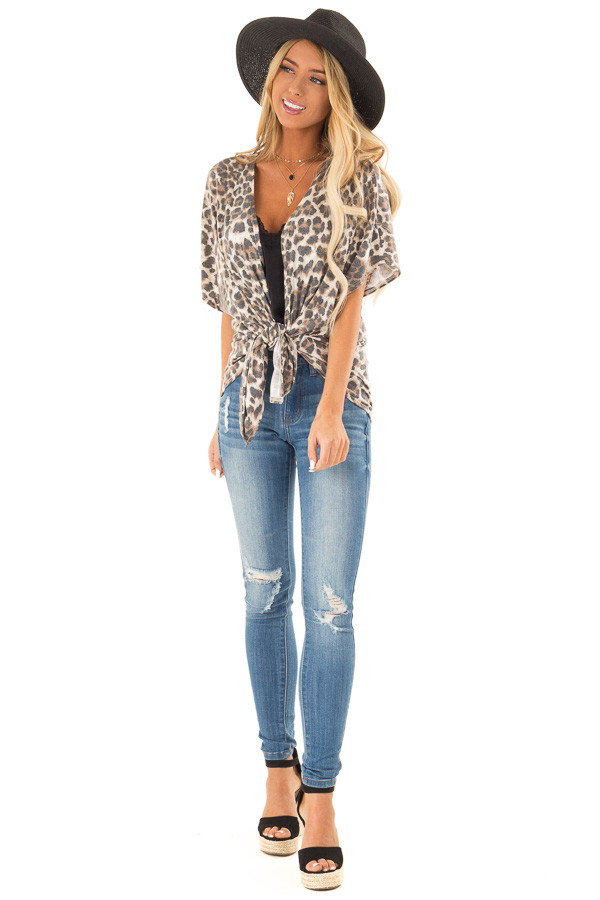 Mocha Leopard Print Short Sleeve Open Cardigan with Tie front full body
