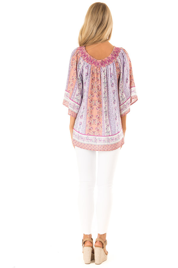 Lavender Multi Print 3/4 Sleeve Top with Tie Detail back full body
