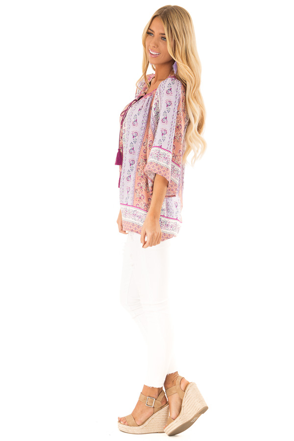 Lavender Multi Print 3/4 Sleeve Top with Tie Detail side full body