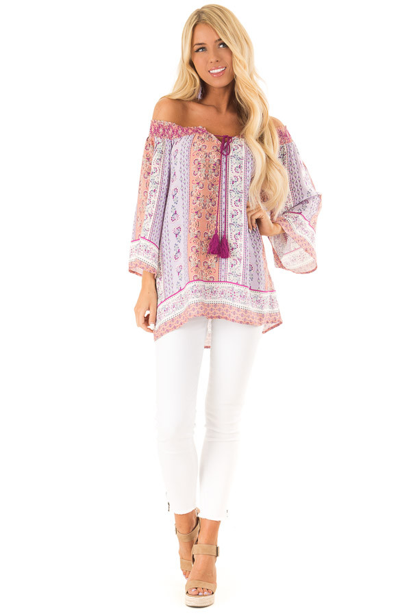 Lavender Multi Print 3/4 Sleeve Top with Tie Detail front full body