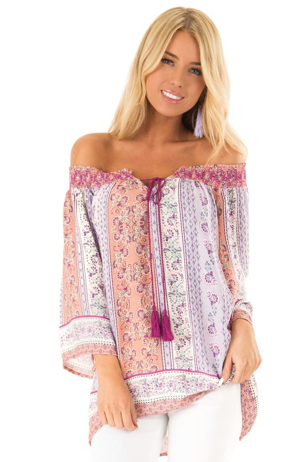 Lavender Multi Print 3/4 Sleeve Top with Tie Detail front close up