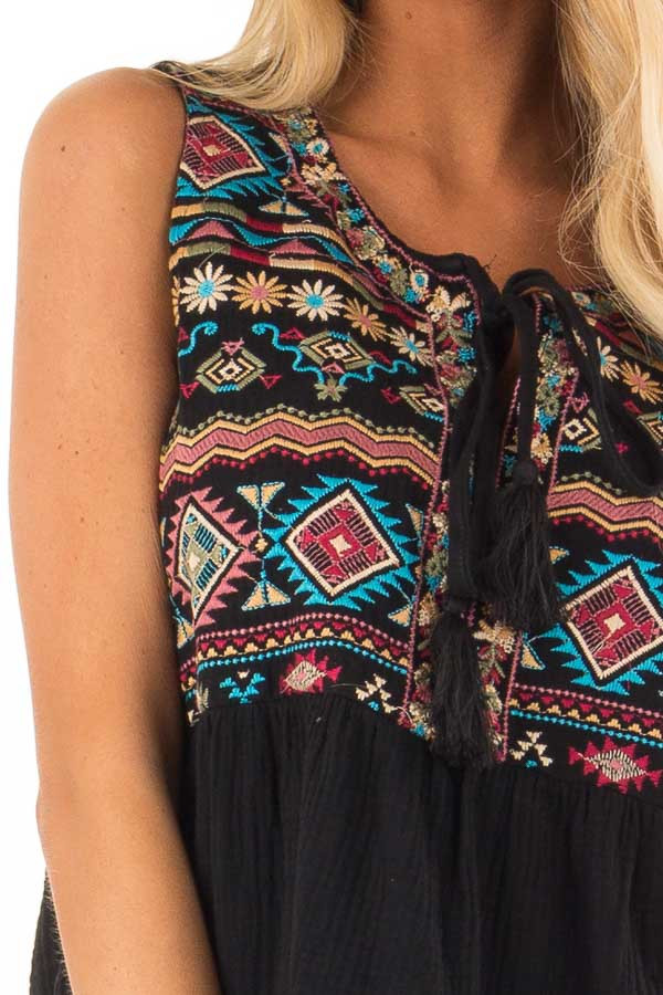 Black Embroidered Multi Print Tank Top with Tie Detail detail