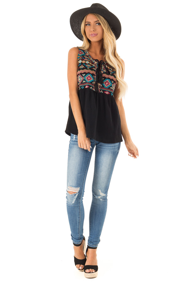 Black Embroidered Multi Print Tank Top with Tie Detail front full body