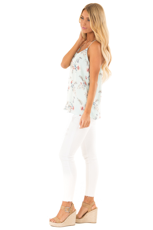 Baby Blue Floral Print Racerback Tank Top side full body