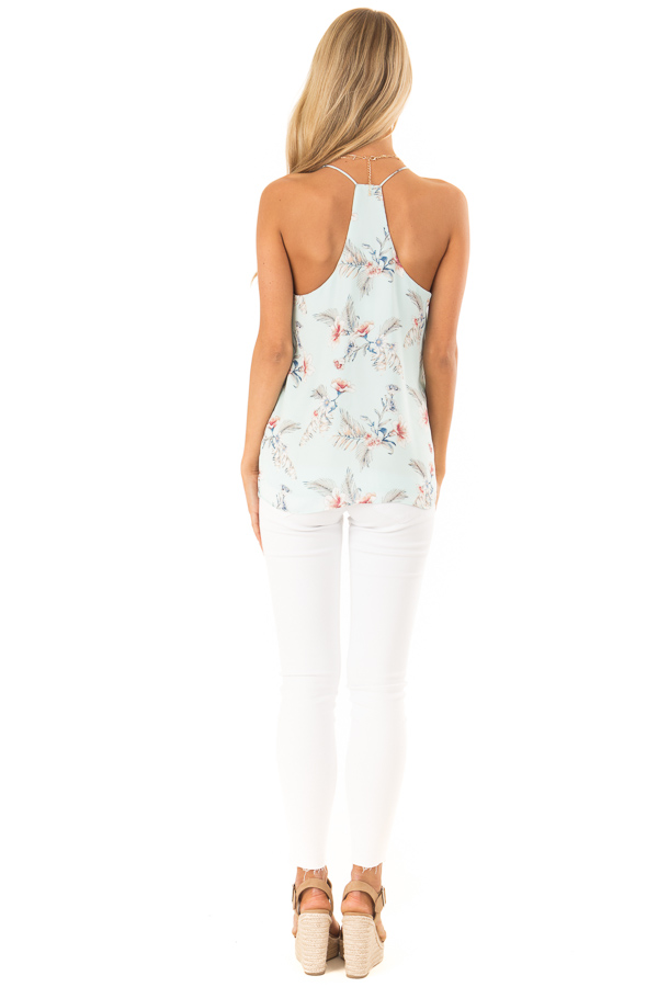 Baby Blue Floral Print Racerback Tank Top back full body