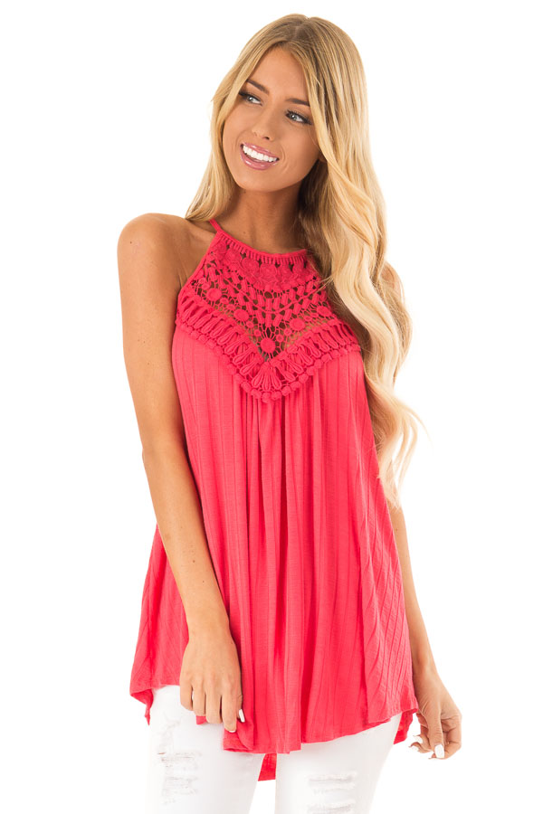 Dark Coral Sleeveless Halter Tank Top with Crochet Details front close up