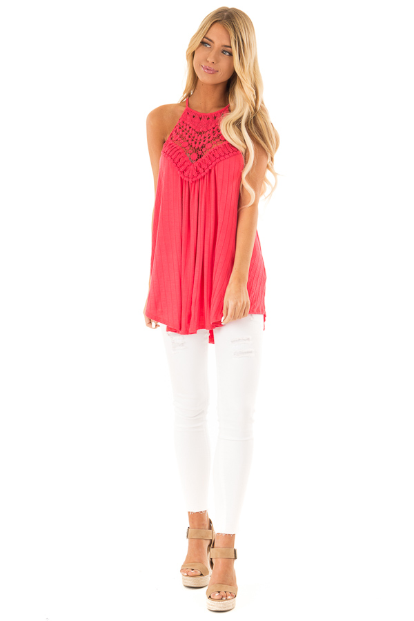 Dark Coral Sleeveless Halter Tank Top with Crochet Details front full body