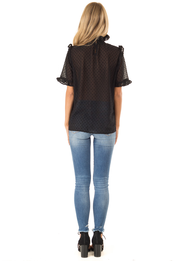 Black Swiss Dot Mock Neck Blouse with Ruffle Sleeves back full body