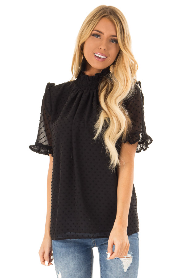 Black Swiss Dot Mock Neck Blouse with Ruffle Sleeves front close up