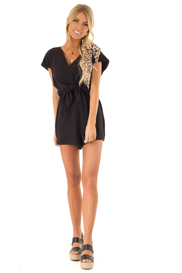 Obsidian Cap Sleeve V Neck Romper with Front Tie front full body