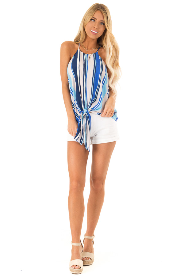 Azure Multicolor Striped Halter Tank Top with Front Tie front full body