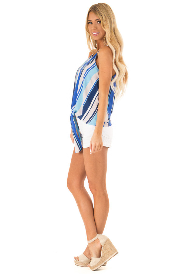 Azure Multicolor Striped Halter Tank Top with Front Tie side full body