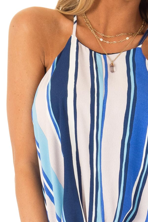 Azure Multicolor Striped Halter Tank Top with Front Tie detail