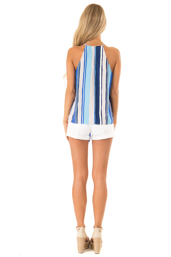 Azure Multicolor Striped Halter Tank Top with Front Tie back full body