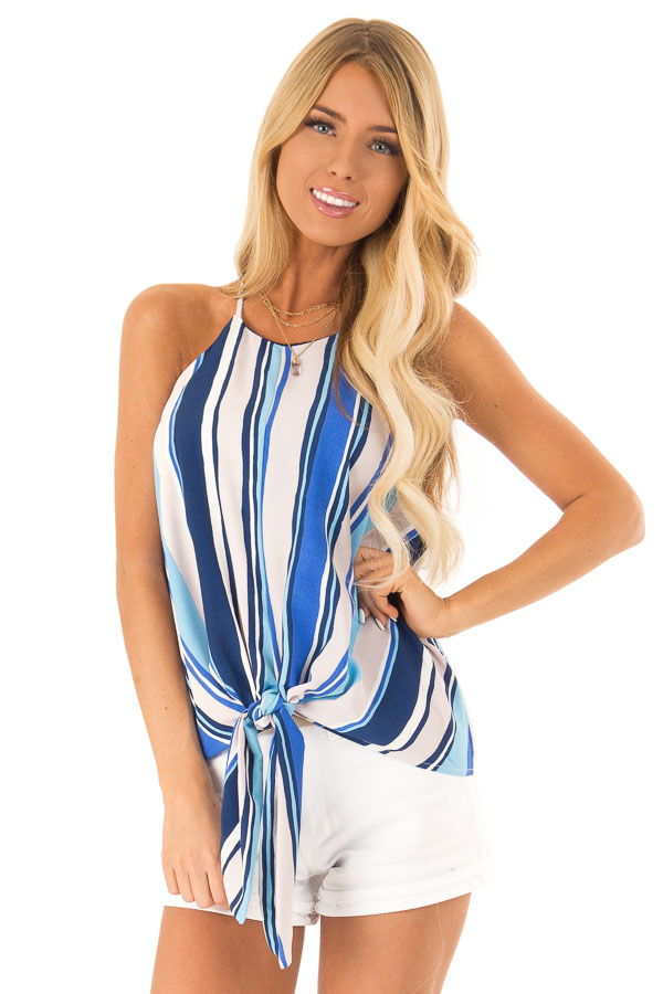 Azure Multicolor Striped Halter Tank Top with Front Tie front close up