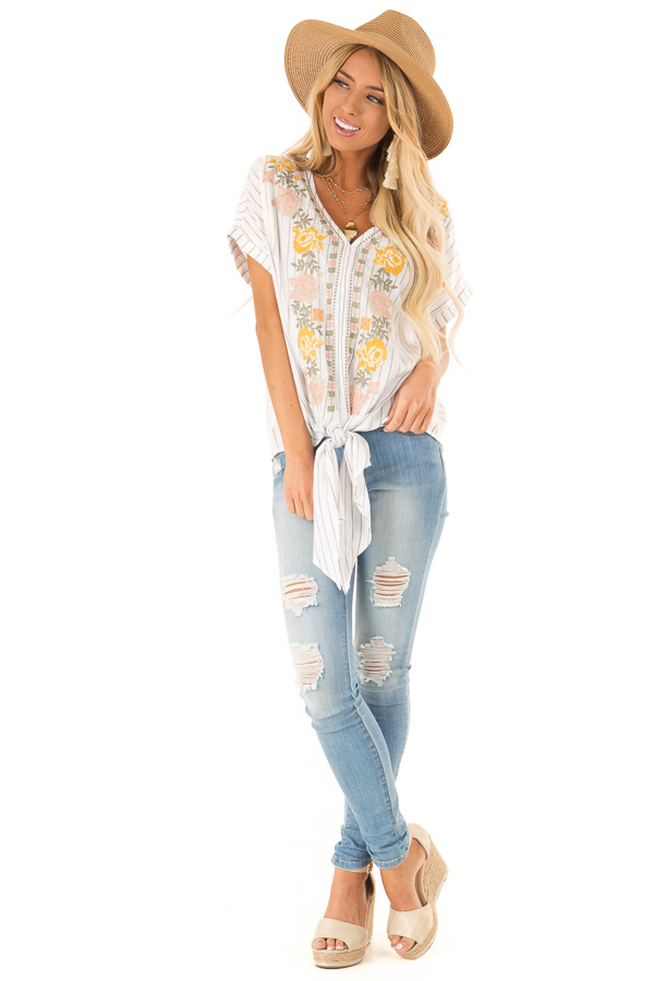 Eggshell Pinstriped Linen Top with Floral Embroidery and Tie front full body