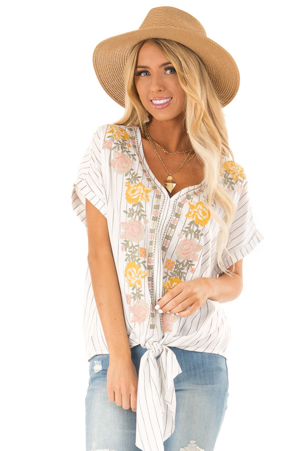 Eggshell Pinstriped Linen Top with Floral Embroidery and Tie front close up