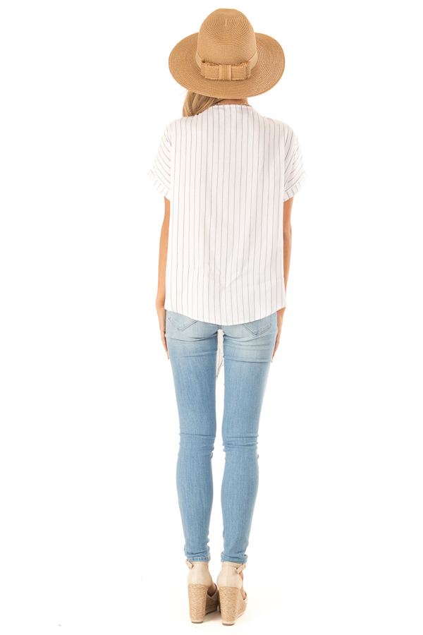 Eggshell Pinstriped Linen Top with Floral Embroidery and Tie back full body