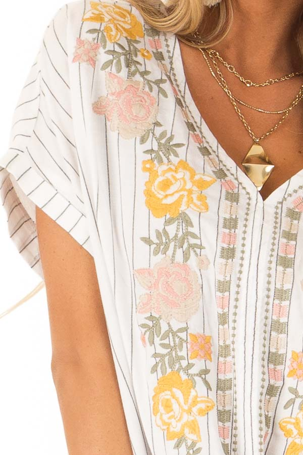 Eggshell Pinstriped Linen Top with Floral Embroidery and Tie detail