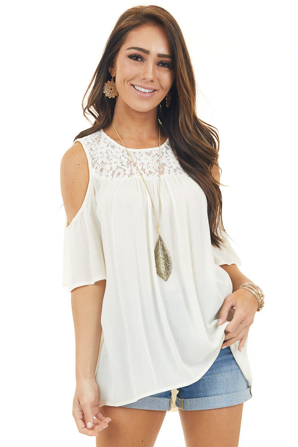 Cream Cold Shoulder Top with Lace Detail and Short Sleeves