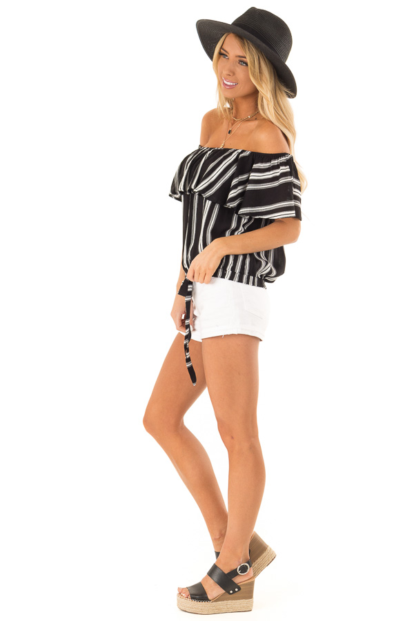 Ebony Black and White Striped Off the Shoulder Ruffle Top side full body