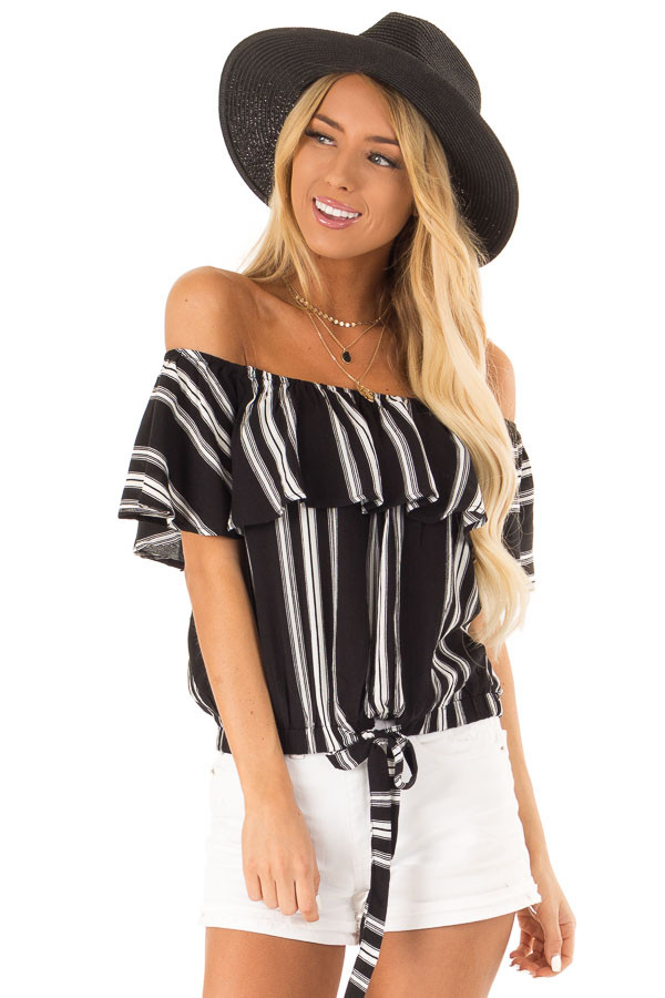 Ebony Black and White Striped Off the Shoulder Ruffle Top front close up