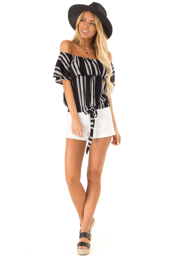 Ebony Black and White Striped Off the Shoulder Ruffle Top front full body