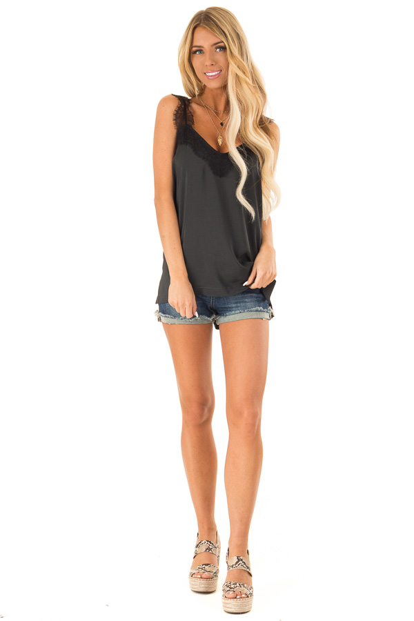 Faded Black Tank Top with Ink Black Lace Trim and Side Slits front full body