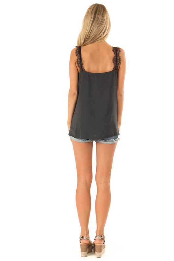 Faded Black Tank Top with Ink Black Lace Trim and Side Slits back full body