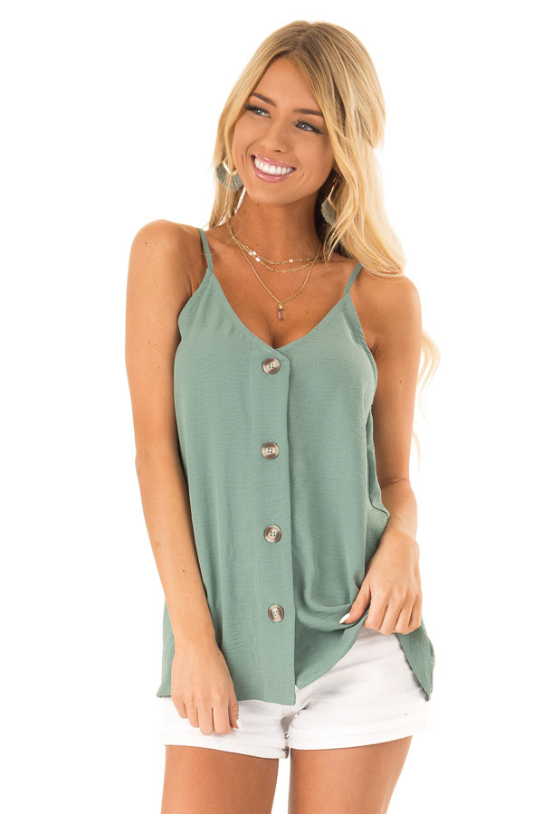 Dark Sage Button Up V Neck Spaghetti Strap Tank Top front close up